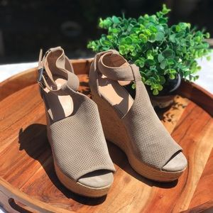 Marc Fisher🍁🍂Wedge Wspadrilles Nude leather 9